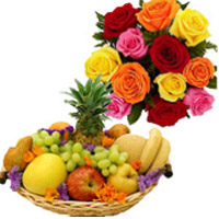 Delivers Online Diwali Gifts consist of 12 Mix Roses Bunch with 1 Kg Fresh Fruits to Bengaluru Gifts with Basket