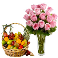 Best Diwali Gifts in Pune to Deliver 12 Pink Roses in Vase with 1 Kg Fresh Fruits Bangalore in Basket