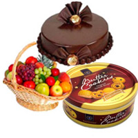 Free Gift Delivery in Bangalore for 1 Kg Fresh Fruits Basket with 500 Chocolate Truffle Cake and Butter Cookies