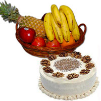 Send Online 1 Kg Fresh Fruits Basket with 500 gm Vanilla Cakes to Bengaluru on Diwali
