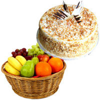 Online Order Diwali Gifts to Bengaluru be Composed of 1 Kg Fresh Fruits Online Bengaluru in Basket with 500 gm Butter Scotch Cakes