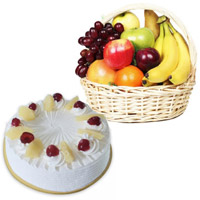 Free Deliver Diwali Gifts to Nanded with 1 Kg Fresh Fruits Basket and 500 gm Pineapple Cakes to Bangalore Online