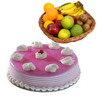 Send Gifts to Bangalore that contains 1 Kg Fresh Fruits Basket with 1 Kg Strawberry Cake