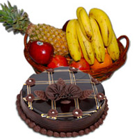 Place Order to Send 1 Kg Fresh Fruits Basket with 1 Kg Chocolate Truffle Cake and Diwali Gifts in Bangalore