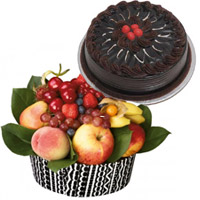 Diwali Gifts Online in Bangalore, 1 Kg Fresh Fruits Basket with 500 Chocolate Cakes to Bangalore