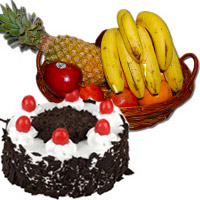 Buy 1 Kg Fresh Fruits Basket with 500 gm Black Forest Cake in Bangalore and Diwali Gifts to Bangalore