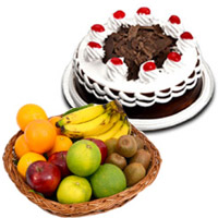 500 gm Black Forest Cake with 1 Kg Fresh Fruits Basket Bangalore