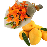 Diwali Gifts in Bangalore contains Orange Lily Bouquet 4 Flower Stems and 12 pcs Fresh Mango
