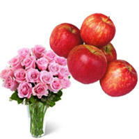 Deliver Diwali Gifts to Bangalore consist of 20 Pink Roses in Vase with 1 Kg Fresh Apple