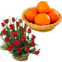 Special Diwali Gifts to Bengaluru contain 20 Fresh Red Roses Basket with 12 pcs Orange