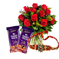 Rakhi Gifts to Bangalore. Send 10 Red Roses Bunch and 2 Dairy milk Silk Chocolates with 1 Rakhi to Bengaluru