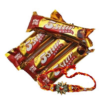4 piece 5 Star Chocolates with 1 Rakhi, Send Rakhi to Bengaluru Same Day