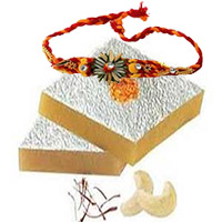 Deliver Rakhi Gifts to Bangalore that include 250gm Kaju Katli with 1 Rakhi