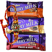 Rakhi with Chocolate Gifts to Bengaluru. 3 Cadbury Dairy Milk (Roast Almond, Crackle, Fruit and Nut) with 1 Rakhi to Bangalore
