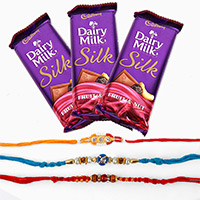 Send 3 Dairy Milk Silk with 3 Rakhi to Bangalore