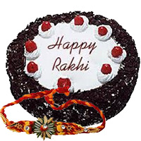 Send 1/2 Kg Black Forest Cake with 1 Free Rakhi to Bangalore