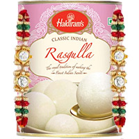 Rakhi Gifts Delivery in Bangalore. 1 Kg Haldiram Rasgulla with 2 Rakhi in Bangalore