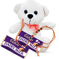 Rakhi Gifts Delivery to Bangalore. Online Delivery 6 inch Teddy and 2 Dairy Milk with 1 Free Rakhi