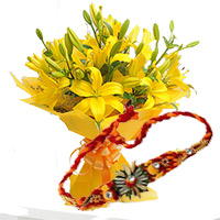 Online Delivery of Yellow lily Bouquet 2 Stem with 1 Rakhi to Bangalore