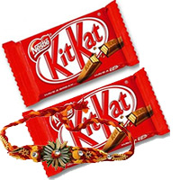 2 Kitkat with 1 Rakhi. Online Rakhi Gift Delivery in Bangalore