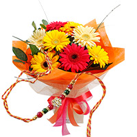 Send 6 Gerbera Flowers with 1 Rakhi to Bangalore