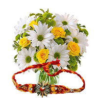 Delivery of White Gerbera and Yellow Roses Bunch 10 Flowers and 1 Rakhi in Bangalore