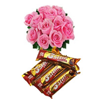 Rakhi Gifts Delivery in Bangalore. Send 6 Pink Roses and 4 piece 5 Star Chocolates with 2 Rakhi to Bengaluru