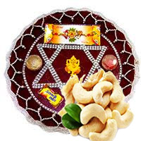 Rakhi Thali to Bangalore. CHANDNI-C-RAKHI THALI 80 and 250 gm Kaju with 1 Rakhi to Bangalore