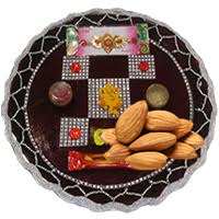 CHANDNI-A-RAKHI THALI 90 and 250 gm Almonds. Rakhi with Rakhi Gifts to Bangalore