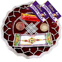CHANDNI RAKHI THALI 60 and 2 Dairy Milk with 1 Rakhi. Rakhi Pooja Thali in Bengaluru