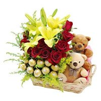 Send Birthday Gifts to Bangalore Domlur. Basket of 2 Lily 12 Roses 16 Ferrero Rocher Twin Small Teddy Basket