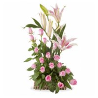 Send 4 Pink Lily 20 Pink Roses Basket to Bangalore