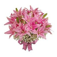 Send Diwali Flowers in Bangalore Online Pink Oriental Lily Bouquet 6 Stems on Diwali