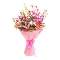 Online Flower Delivery in Bangalore - Lily Orchids Bouquet