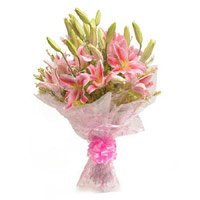 Order for Pink Lily Bouquet 6 Flowers in Bangalore. Diwali Flowers to Bengaluru