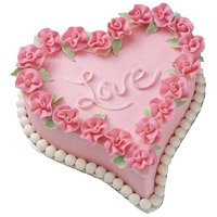 1.5 Kg Love Heart Shape Strawberry Cake Delivery in Bangalore
