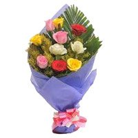 Send New Year Flowers to Bangalore together with Mixed Roses Bouquet in Crepe 10 Flowers in Bengaluru