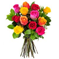 Mixed Roses Bouquet 12 Flowers in Bangalore. Deliver New Year Flowers to Bengaluru