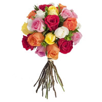 Send New Year Flowers in Bangalore consist of Mixed Roses Bouquet 24 Flowers to Bengaluru
