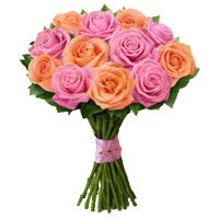 Buy New Year Flowers in Bangalore. Peach Pink Rose Bouquet 12 Flowers in Bangalore