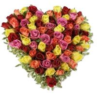 Flower to Bangalore.Send Mixed Roses Heart 50 Flowers