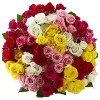 New Year Flowers to Bangalore comprising with Mixed Rose Bouquet 100 Flowers to Bengaluru