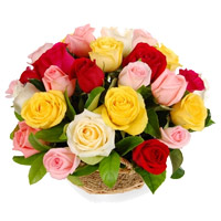Same Day Delivery of New Year Flowers in Bangalore comprising of Mixed Roses Basket of 24 Flowers to Bengaluru