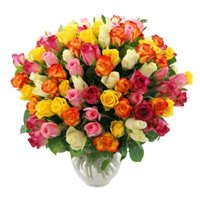 Deliver Mixed Roses Bouquet 50 Flowers to Bangalore Same Day including New Year Flowers in Bengaluru
