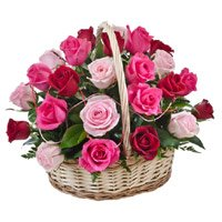 Send Mix Flowers to Bangalore Domlur. Basket includes Red, Pink and Peach Flowers For your Father in Bangalore Domlur