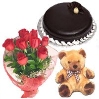 Place order for New Year flowers in Bangalore along with Bunch of 12 Red Roses, 9 inch Teddy and 1 kg Chocolate Truffle Cake