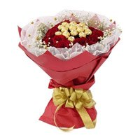 Deliver 16 Pcs Ferrero Rocher Chocolate encircled with 20 Red Roses to Bangalore on Friendship Day