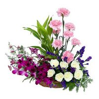 Send Basket of Orchids, Carnations and Roses 18 Flowers to Bangalore Rajajinagar