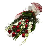 Deliver Online 6 White Diwali Orchids 12 Red Roses Flower Bouquet to Bangalore