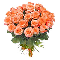 Send Peach Roses Bouquet 24 Flowers to Bangalore Online